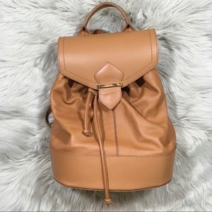 ASOS brown genuine leather backpack purse